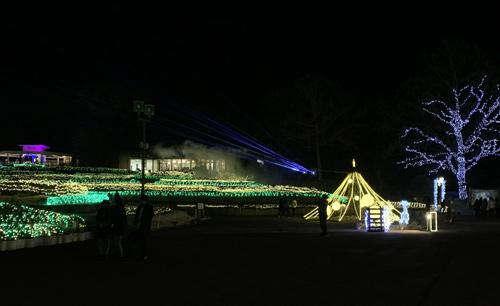 茨城 フラワーパーク イルミネーションとレーザー光線
