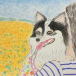 水彩色鉛筆で愛犬の水彩画(絵)を描いてみた